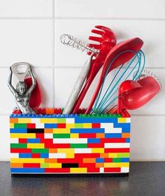 Build simple, colorful containers out of Legos.   27 Clever Ways To Use Everyday Stuff In The Kitchen