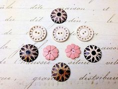 9 Flat Vintage pink ivory brown 2 hole Buttons by GwensButtons