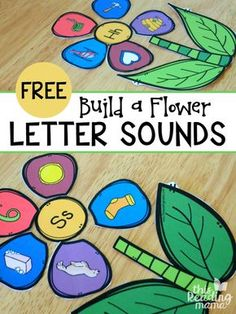 FREE Build a Flower using letter sounds - what a fun way for kids to practice alphabet letters in a hands on way great for homeschool, preschool, and centers