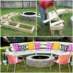 Love this DIY outdoor fire pit bench Fire Pit Bench, Fire Pit Seating, Fire Pit Furniture, Outdoor Furniture Sets, Outdoor Decor, Outdoor Ideas, Outdoor Fire, Outdoor Stuff, Outdoor Landscaping