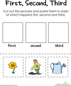 Kindergarten Comprehension Worksheets: First, Second, Third: A ...