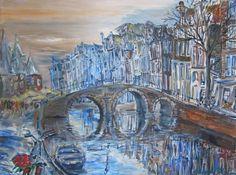 Uitzicht op De Waag, Amsterdam - acryl op doek - Elena Polyakova (1970-)
