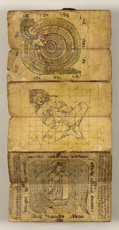 Book of Tantric Rituals and Astrology, Nepal, century, Ink and opaque watercolor on paper with leather binding, 2 x 6 in. Buddhist Symbols, Buddhist Art, Tantra Art, Shri Yantra, Tibetan Art, Arte Obscura, Spiritus, Vedic Astrology, Hindu Art