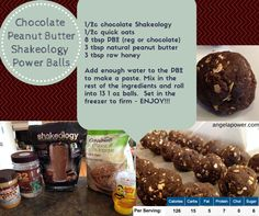 Chocolate Peanut Butter Ball - Healthy Hack - superfood style  #recipe #healthy #superfood #healthytreat #healthyhack #shakeology #energyball #powerball