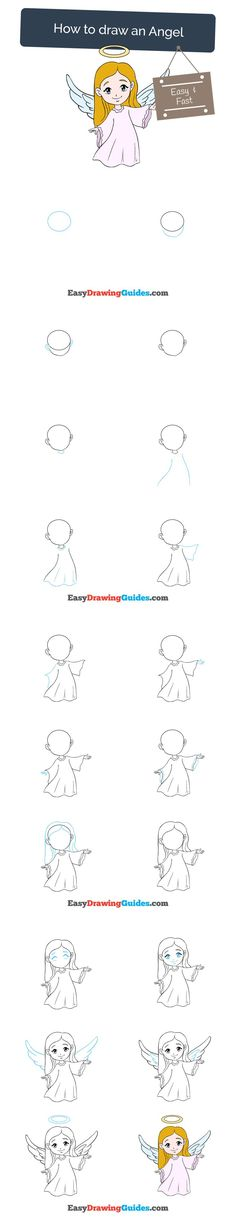 Learn How to Draw an Angel: Easy Step-by-Step Drawing Tutorial for Kids and Beginners. #angel #drawing #tutorial. See the full tutorial at https://easydrawingguides.com/how-to-draw-an-angel/
