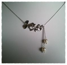 Orchids Flowers with White Pearl Necklace  by LaLaCrystal on Etsy, $25.50