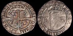 Henry VIII, with Anne Boleyn. 1509-1547. AR groat. Crown i.m. 2.37 gm. 23 mm. First Harp issue. Struck 1534-1535. Crowned coat of arms over long cross fourchée / Crowned harp, crowned h and A flanking. D&F 201. S. 6472. Pleasing Very Fine; attractive silver-gray toning with multi-hued toning in the reverse elements.