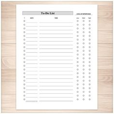 Full Page To-Do List - Level of Importance Column - Printable Planning