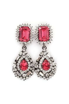 Delphine Crystal Earrings in Raspberry on Emma Stine Limited