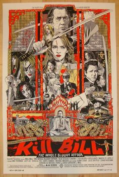"""Kill Bill - silkscreen movie poster (click image for more detail) Artist: Tyler Stout Venue: New Beverly Cinema Location: Los Angeles, CA Date: 3/27/2011 Edition: 600; numbered Size: 24"""" x 36"""" Conditi"""