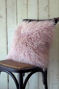 Mongolian Sheepskin Cushion - Dusky Pink