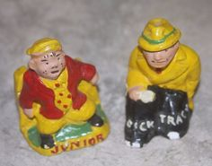 Vintage Chalkware Dick Tracy and Junior Salt & Pepper Shakers 1940s in Collectibles, Decorative Collectibles, Salt & Pepper Shakers | eBay