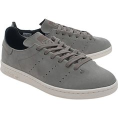 ADIDAS ORIGINALS Stan Smith Lea Sock Tracar // Clean leather-sneakers ($150) ❤ liked on Polyvore featuring men's fashion, men's shoes, men's sneakers, mens grey sneakers, mens grey shoes, mens leather shoes, mens gray dress shoes and mens perforated shoes