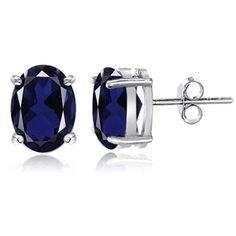 Sterling Silver Created Blue Sapphire 6x4mm Oval Stud Earrings