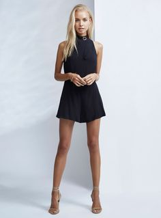 Finders Keepers Great Heights Playsuit – Black