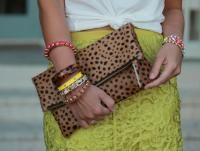 Leopard Print Calf Hair Fold Over Zipper Pouc , Calf Hair,  Leopard Print,  Print,  Leather Bag,  Leather Clutch