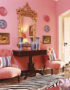 Pink, gold, zebra, and blue & white porcelain.  Chairs, mirror, and plates!