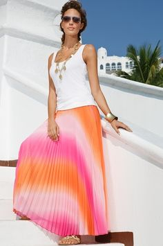 Ombre maxi skirt. White tank. Sandals. Bangal bracelet. Long necklace. Hair up. I love this whole look.