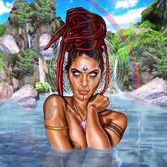 Black Love Art, Black Girl Art, Art Girl, African American Art, African Art, Orishas Yoruba, Goddess Art, Oshun Goddess, Black Art Pictures
