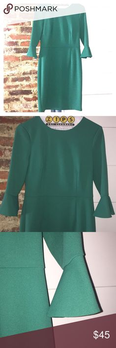 Green bell sleeved Donna Morgan dress size 4 Perfect color for Christmas! Or spring, just change up the accessories and you can wear it in both seasons. Zip back, 3/4 sleeves, hits just above the knee. Tiny pick in the fabric near the neckline, but barely noticeable. See pic for detail. Size 4. Donna Morgan Dresses Long Sleeve