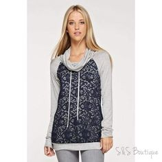 Gray & Navy Lace Hoodie