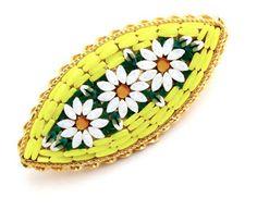 Vintage Micro Mosaic Yellow Flower Brooch