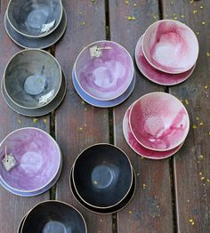 Gifts for new home owners - Lovely black grey pink and purple bowls for by lauriegceramics