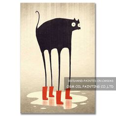 Black Cat Painting, Hand Painted, Canvas, Image, Tela, Canvases