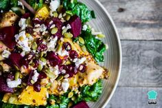 Grilled Chicken, Kale and Beetroot Salad with Feta Cheese and an Orange Mustard Dressing Recipe  #kalesalad #beetroot #fetacheese #orangemustard #saladdressing #grilledchicken
