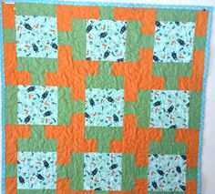 Baby Blanket, Baby Quilt, Wild Animal, Handmade Quilt, Quilt For Sale, Bear Quilt, Blue and Orange, Blanket, Green and Orange, Quilt by HappyGoQuilting on Etsy