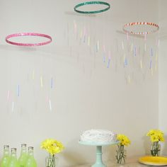 Use mobiles as party decor with this simple tutorial using birthday candles