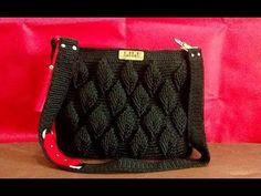 Crochet Bag Tutorial Using Leaf Stitch Design Peak Crochet Bag Tutorials, Easy Crochet Projects, Crochet Videos, Crochet For Beginners, Tutorial Crochet, Crochet Handbags, Crochet Purses, Crochet Bags, Crochet Shell Stitch