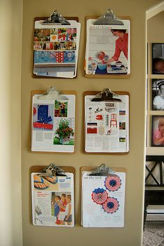 clipboards to organize papers so they dont clutter the counter! To make important documents available and visible! Paper Organization, Office Organization, Organizing Ideas, July Crafts, Organize Your Life, Getting Organized, Cleaning Hacks, Room Inspiration, Life Hacks