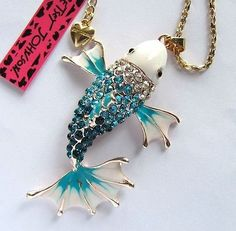 Betsey Johnson Shining Blue crystal beautiful fish pendant Necklace#364L,L - http://designerjewelrygalleria.com/betsey-johnson/betsey-johnson-shining-blue-crystal-beautiful-fish-pendant-necklace364ll-2/