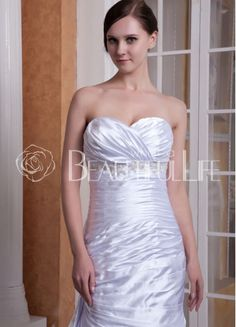 $207.99Verna Noble Satin Mermaid Chapel Train Sweetheart Pleats And #Embroidery #Wedding Dress