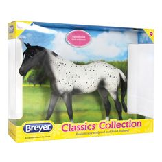 The Appaloosa is known for its uniquely spotted coat that comes in many patterns. This beautiful Appaloosa has a black semi-Leopard pattern. Appaloosas are hardy horses that make excellent stock, plea