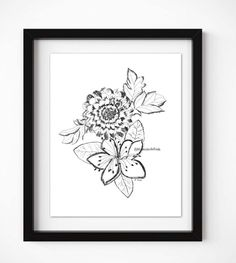 Pen and ink drawing, Ink flowers,  floral print, Original Floral sketch, Black and white drawing, Modern art, nursery, Boho home decor by WatercolorArtFinds on Etsy