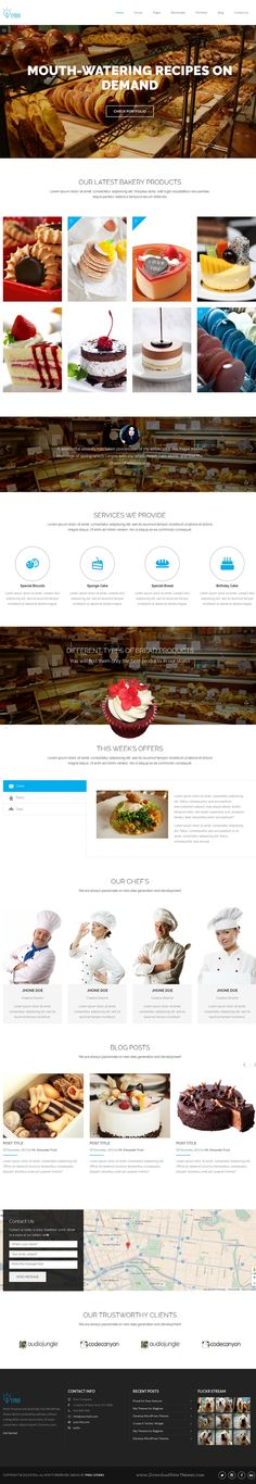 Eydia focus on Multi-page and One page Responsive Marketing WordPress Template that can use all kind of Business #websites. #bakery #cake #pastry
