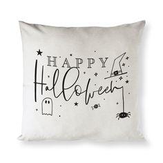 Happy Halloween Cotton Canvas Halloween Pillow Cover