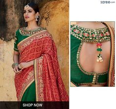 Red and Green Jacquard Saree with Embroidery Work - 2