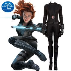 MANLUYUNXIAO New Captain America 3 Black Widow Natasha Romanoff Cosplay Costume Deluxe Outfit Black Halloween Costumes for Women