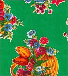 Flower Basket Green Oilcloth