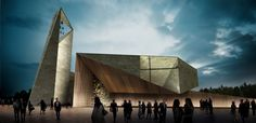 Studio Kuadra's Iconographic Design Selected as Winner of Cinisi Church Competition,Exterior Rendered View. Image Courtesy of Studio Kuadra