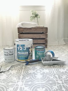 How to Paint Your Linoleum or Tile Floors to Look Like Patterned Cement Tiles- Full Tutorial with List of Materials