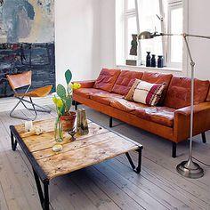 Кожаный диван S&W Whiskey  www.steelandwoodshop.ru