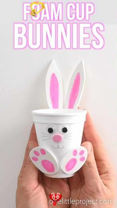 How to Make Foam Cup Bunnies | DIY Foam Cup Easter Bunnies These foam cup bunnies are SO CUTE! I love how easy they are to make with simple craft supplies! Fill them with candy, chocolate eggs, pencil crayons, or even small toys. They take less than 10 minutes and make an awesome Easter treat idea! Make them as a decoration for the Easter table, or give them away as small Easter gifts. This is such a fun Easter craft for kids!<br> These foam cup bunnies are SO CUTE and simple! Fill them with… Easter Table, Easter Eggs, Easter Bunny, How To Make Foam, Foam Cups, Diy Ostern, Easter Crafts For Kids, Kids Diy, Easter Treats