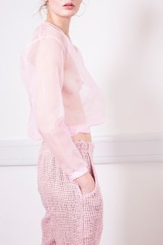 pastel pink sheer top and ensemble [The Uniform's 002 Collection 'Does This Look Right? Fashion In, Fashion Details, Fashion Trends, Fashion Beauty, Mode Pastel, Pastel Pink, Lingerie Look, Style Work, Rose Bonbon