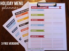 FREE Printable Holiday Menu Planners - 3 versions (perfect for Thanksgiving, Christmas, New Years....) via Clean Mama