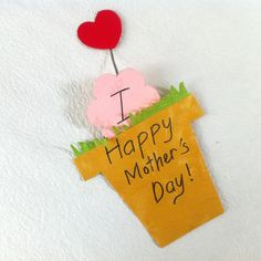 DIY Mother's Day Flower Pot Card with a Cute Hidden Message Inside - Createsie Diy Mothers Day Gifts, Happy Mothers Day, Mothers Day Flower Pot, Art For Kids, Crafts For Kids, Paper Crafts, Diy Crafts, Mother's Day Diy, Happy Day