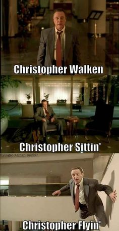 Funny pictures about Christopher Walken. Oh, and cool pics about Christopher Walken. Also, Christopher Walken photos. Celebrity Name Puns, Funny Celebrity Pics, 9gag Funny, Funny Memes, Hilarious, Puns Jokes, Movie Memes, Silly Memes, Stupid Memes